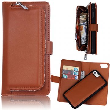 iPhone 6S/6 Detachable Magnetic Zipper Pocket Case Brown