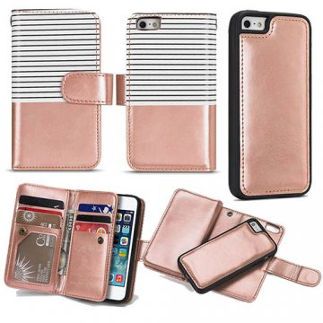 BRG iPhone SE/5S/5 Wallet 2 in 1 Stripe Leather Case White + Gold