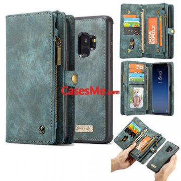 CaseMe Samsung Galaxy S9 Zipper Wallet 2 in 1 Folio Case Green