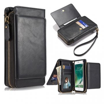 iPhone 8 Wallet Detachable Magnetic Case With Wrist Strap Black