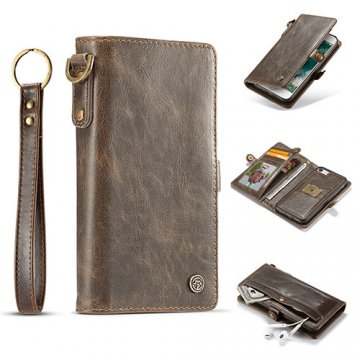 CaseMe iPhone 7 Wallet Retro Style Case With Wrist Strap Coffee