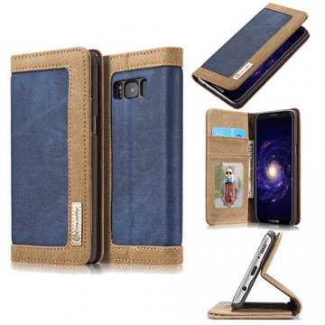 CaseMe Samsung Galaxy S8 Canvas Wallet PU Leather Stand Case Blue
