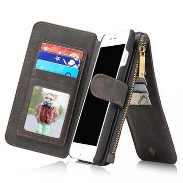 CaseMe 007 iPhone 7 Plus Retro Flannelette Leather Detachable 2 in 1 Wallet Case Black