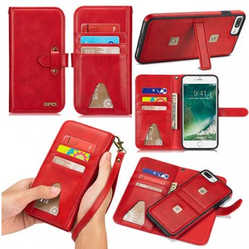 BRG iPhone 7 Plus Wallet Stand 2 in 1 Case with Wrist Strap Red