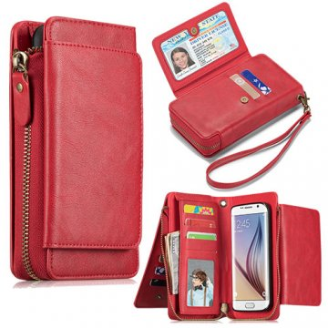 Samsung Galaxy S6 Wallet Detachable Magnetic Case Red