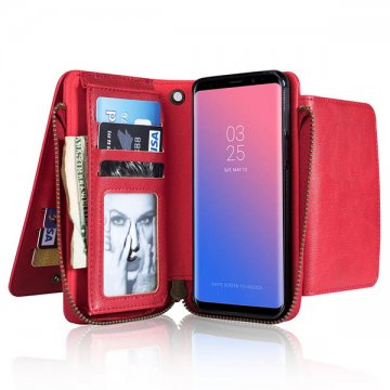 Samsung Galaxy S9 Wallet Detachable Case With Wrist Strap Red