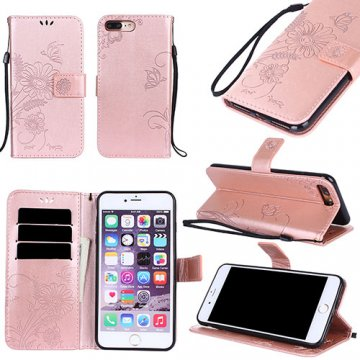 iPhone 7 Plus Wallet Embossed Ant Flower Stand Case Rose Gold