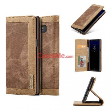 CaseMe Samsung Galaxy Note 8 Canvas Wallet Magnetic Case Brown
