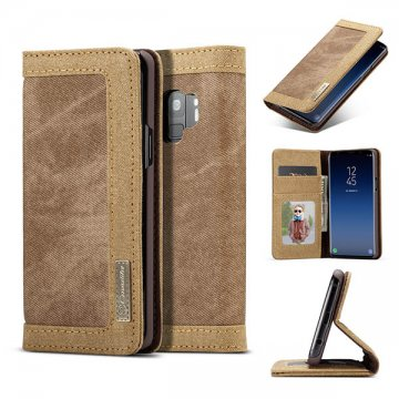 CaseMe Samsung Galaxy S9 Canvas Wallet Leather Case Brown