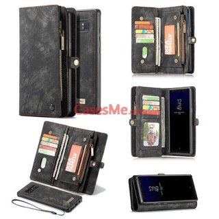 CaseMe Samsung Galaxy Note 8 Zipper Wallet Detachable 2 in 1 Folio Case Black