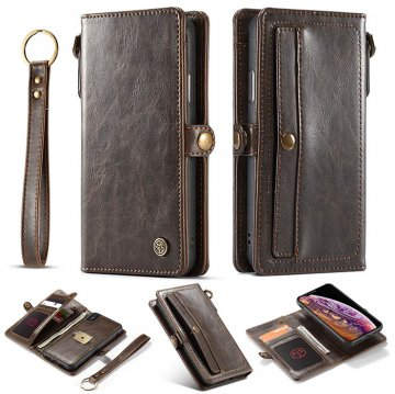 CaseMe iPhone XS Wallet Retro Style Case With Wrist Strap Coffee