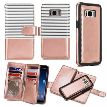 BRG Samsung Galaxy S9 Wallet Stripe Leather Case White + Gold