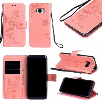 Samsung Galaxy S8 Embossed Ant Flower Design Wallet Case Pink
