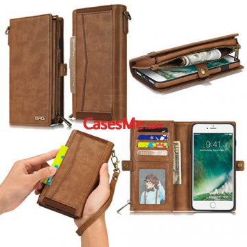 BRG iPhone 8 Plus Wallet Detachable Magnetic Case with Wrist Strap Brown