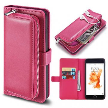 iPhone 7 Detachable Magnetic Zipper Pocket Case Rose