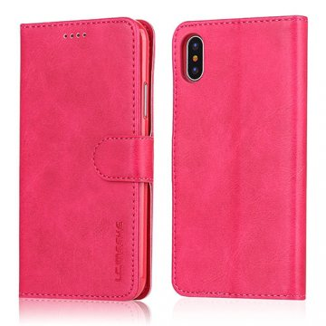 LC.IMEEKE iPhone X Wallet Stand Leather Case Rose