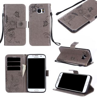 Samsung Galaxy S7 Wallet Embossed Ant Flower Stand Case Grey