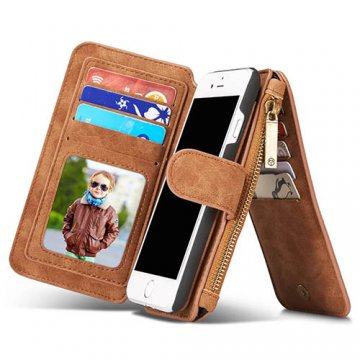 CaseMe iPhone 7 Detachable 2 in 1 Multifunctional Wallet Case Brown