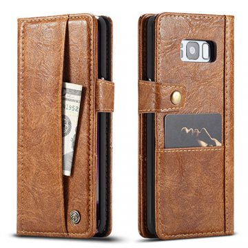 CaseMe Samsung Galaxy S8 Plus Retro Wallet Leather Case Brown
