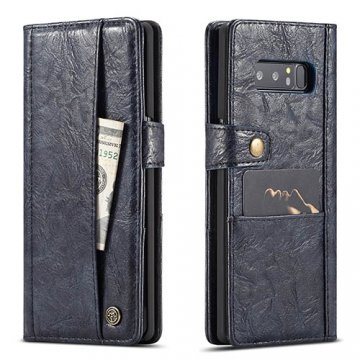 CaseMe Samsung Galaxy Note 8 Retro Wallet Leather Case Blue