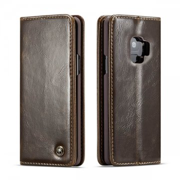 CaseMe Samsung Galaxy S9 Wallet Magnetic Flip Case Brown