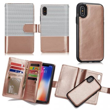BRG iPhone X Detachable Wallet Magnetic Case Stripe White + Gold