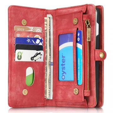 CaseMe 008 iPhone 7 Plus Zipper Wallet Detachable 2 in 1 Retro Flannelette Leather Folio Case Red