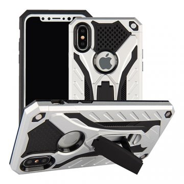 Apple iPhone X Armor Hybrid Shockproof Stand Case Silver