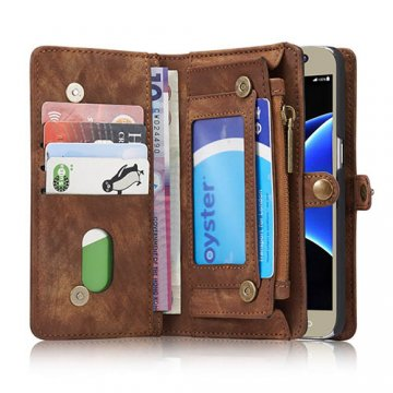 CaseMe Samsung Galaxy S7 Zipper Wallet Detachable 2 in 1 Folio Case Brown