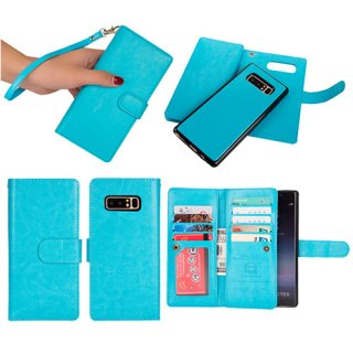 BRG Samsung Galaxy Note 8 Detachable Wallet Magnetic Case Blue