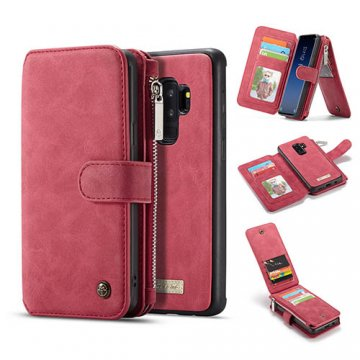 CaseMe Samsung Galaxy S9 Plus Zipper Wallet Detachable Case Red