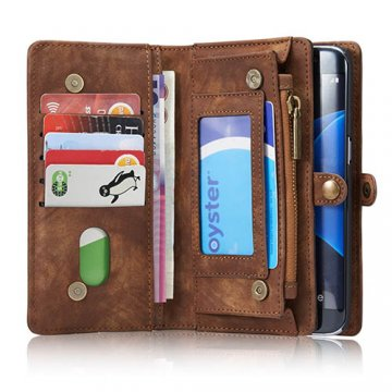 CaseMe Samsung Galaxy S7 Edge Zipper Wallet Detachable 2 in 1 Folio Case Brown