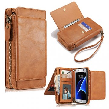 Samsung Galaxy S7 Wallet Detachable Magnetic Case With Wrist Strap Brown