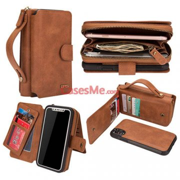 BRG iPhone X Zipper Wallet Detachable Magnetic Case Brown