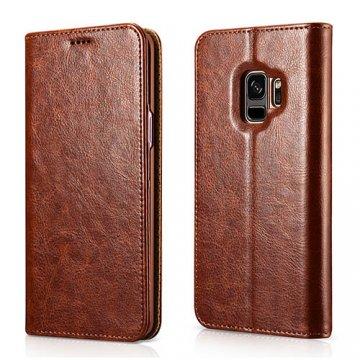 XOOMZ Samsung Galaxy S9 Stand Wallet Leather Folio Case Brown