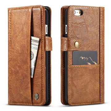 CaseMe iPhone 6/6S Retro Slot Cards Wallet Leather Case Brown