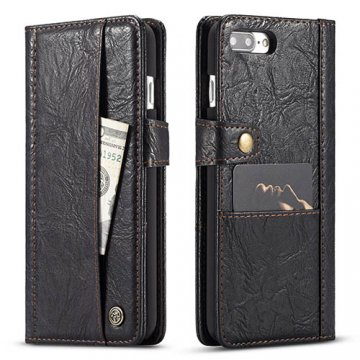 CaseMe iPhone 7 Plus Retro Slot Cards Wallet Leather Case Black