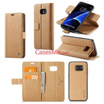 WHATIF Samsung Galaxy S7 Edge Wallet Detachable DIY Case Brown