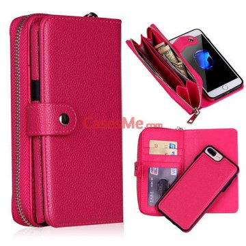 BRG iPhone 8 Plus Zipper Wallet Detachable Litchi Pattern Case Rose
