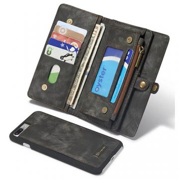 CaseMe iPhone 8 Plus Zipper Wallet Detachable 2 in 1 Case Black