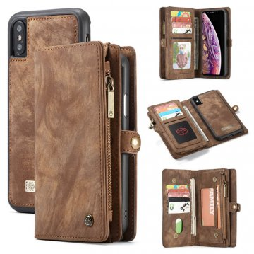 CaseMe iPhone XS Zipper Wallet Detachable 2 in 1 Case Coffee