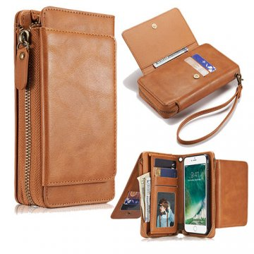 iPhone 6S/6 Wallet Detachable Magnetic Case With Wrist Strap Brown