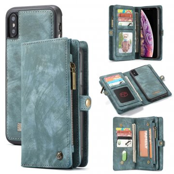CaseMe iPhone XS Zipper Wallet Magnetic Removable Case Blue
