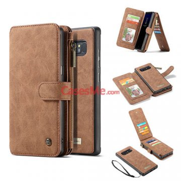 CaseMe Samsung Galaxy Note 8 Zipper Wallet Detachable Flip Case Brown