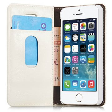 CaseMe iPhone SE/5S/5 Wallet Magnetic Flip Leather Case White