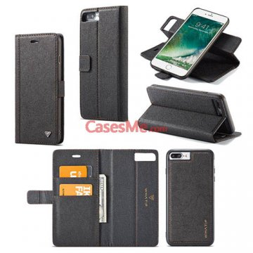 WHATIF iPhone 7 Plus Wallet Detachable 2 in 1 Stand Case Black