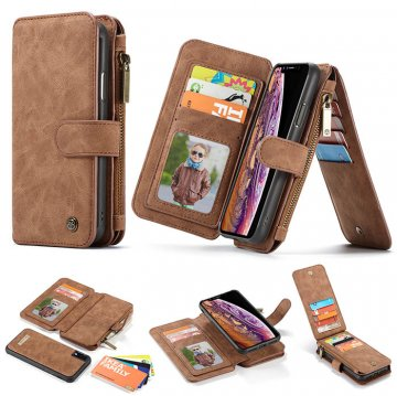 CaseMe iPhone XR Wallet Magnetic Detachable Flip Case Brown