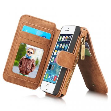 CaseMe iPhone SE/5S/5 Zipper Wallet Detachable 2 in 1 Flip Case Brown