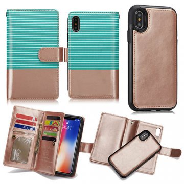 BRG iPhone X Detachable Wallet Magnetic Case Stripe Green + Gold