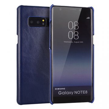 Samsung Galaxy Note 8 Genuine Leather Matte Back Cover Case Blue